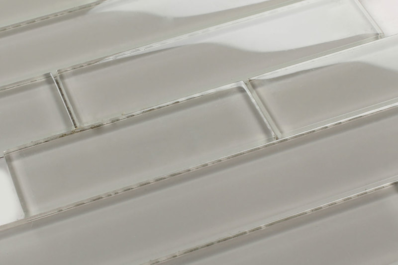 Mosaic Linear Glass Tiles Grey Frosted By