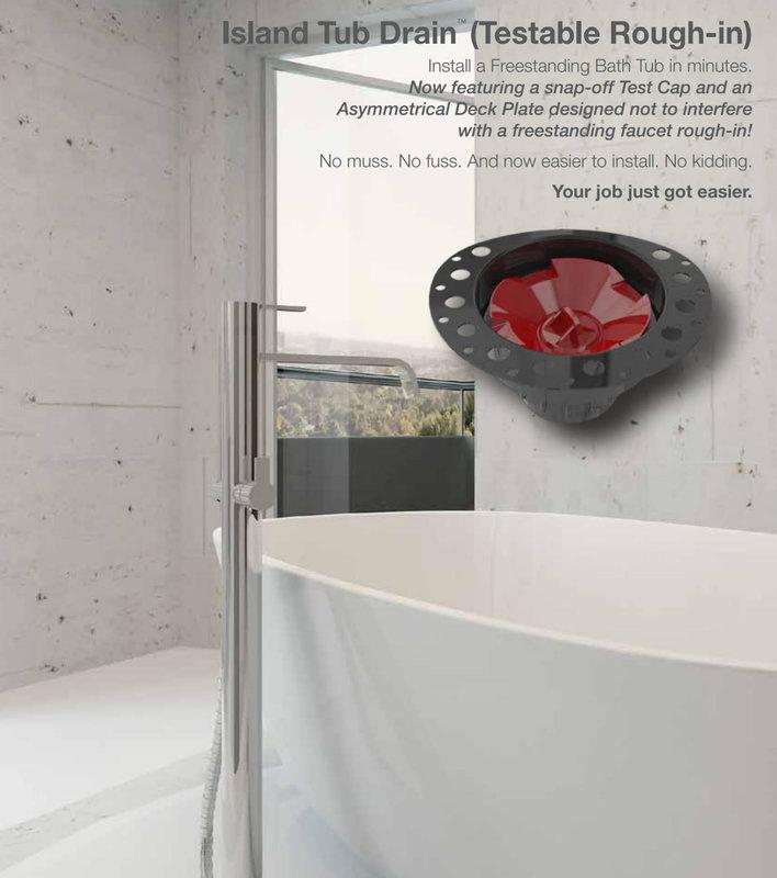 OSB Island Tub Drain Freestanding Bath Tub Drain Rough-in ABS PVC or Cast Iron